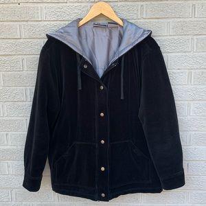 Liz Claiborne Sport Velvet Hooded Black Coat